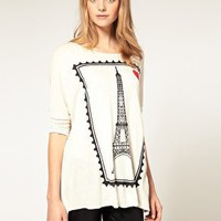 ASOS | ASOS Oversized Top with Eiffel Tower Stamp Print at ASOS