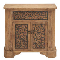Wood Metal Cabinet with Graceful Curve Motifs