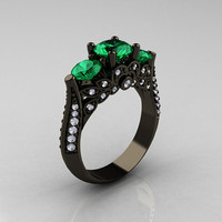14K Black Gold Three Stone Diamond Emerald Solitaire Ring R200-14KBGDEM
