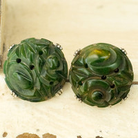 Bakelite Carved Green Pins Vintage