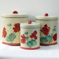 Metal Canister Set Bakelite Handle Floral Vintage