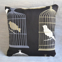 Bird Cage Linen Pillow - Designer Fabric Throw PIllow