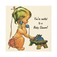 Vintage Baby Shower, Cute Girl Talking on Phone Invite