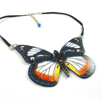 Crewneck collar recycled CD : butterfly black, white, blue, orange and yellow - by Savousepate