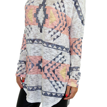 Ivory And Coral Aztec Print Top