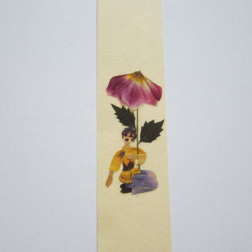 """Handmade unique bookmark """"A Place For Me"""" - Decorated with dried pressed flowers and herbs - Original art collage."""