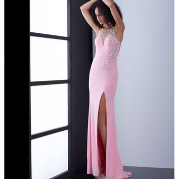 Jasz Couture Pink Sheer Illusion Low Back Intricate Beading Dress Prom 2015