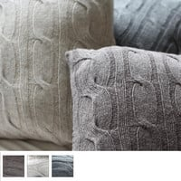 Handmade Soft Lambs Wool Chunky Cable Knit Pillow