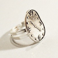 Melted Clock Ring Dali Surreal Crooked Charm by CsCharms
