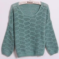Hollw Out Round Neck Green Sweater$42.00