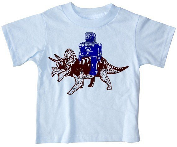 Robot and Triceratops Funny Science Geek Dinosaur by happyfamily