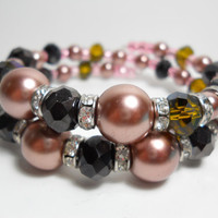 Wrap Bracelet Rose, Olive, and Black Crystal Rhinestone Memory Wire Bracelet