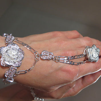 "Adjustable 100% Sterling Silver ""Slave Bracelet"" Ring. Filigree Flower Rose Bracelet w an adjustable Filigree Rose Ring.Fits 6 to 8"" wrists"