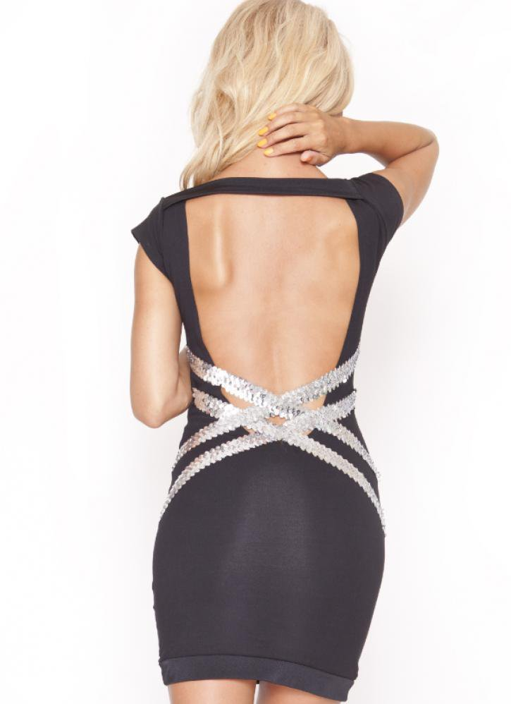 Quontum Black Backless Dress with Sequin Criss Cross Straps
