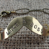 Like a Boss Brass Mustache Bracelet - Hand Stamped