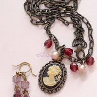 EGL, gothic lolita, Faux cameo necklace and the matching earrings set