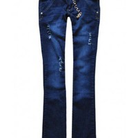 Low Waist Denim Blue cotton bootcut jeans  Low Waist type  Solid Pop  style zz916009 in  Indressme