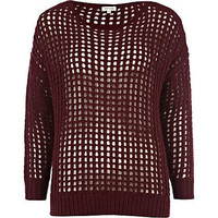 dark red holey jumper