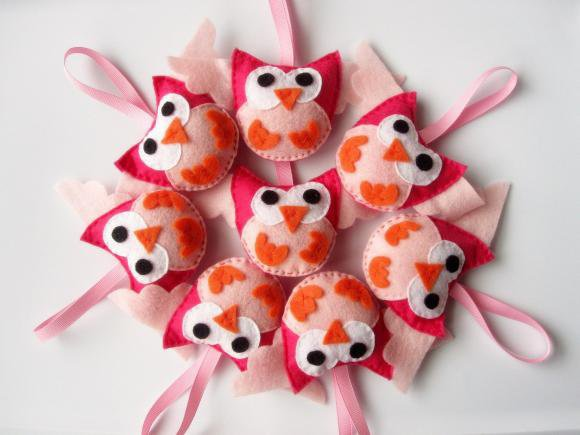 8 Mini Owls Felt Party Favors on Luulla