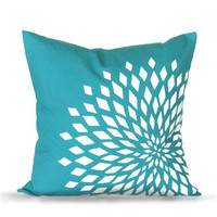 Graphic Zinnia Pillow Cover - Turquoise
