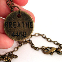 Breathe Necklace Inspirational Word Jewelry in Bronze Vintage Style Stamped Jewlery with Numbers