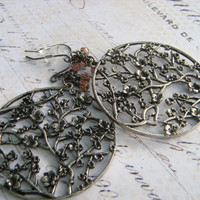 Oxidized Earrings, Cherry Blossom Earrings, Oxidized Silver Pendant, Pink Glass Bead Earrings