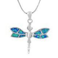 Sterling Silver Blue Opal Butterfly Necklace | SilverBin