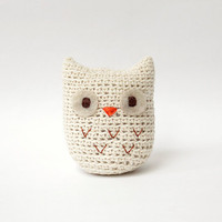 Unbleached Cotton Crochet Amigurumi Owl - Beige / Off - White Owl Doll