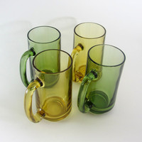 Beer Mug Glasses - Green and Yellow Set of Four