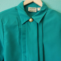 Vintage 80's Separate Issue Teal Blouse
