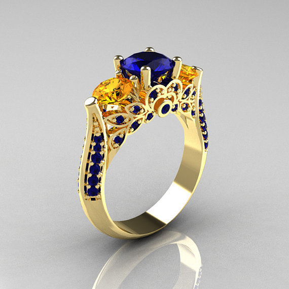 Classic 14K Yellow Gold Three Stone Blue Sapphire Citrine Solitaire Ring R200-14KYGBSCI