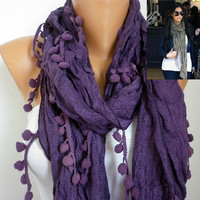 Purple Women Shawl Scarf -  Cowl Scarf - fatwoman