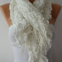 Fabric Knitted Lace Scarf  -  Shawl Scarf  Cowl Scarf -  Long Scarf - Ruffle Scarf- White- fatwoman