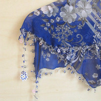 Cobalt Blue -Grey mixed colorful, Tringle Traditional Turkish Oya  Scarf,authentic, elegant, fashion,weddings,bridal,vintage,rustic