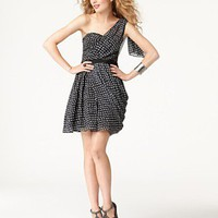 Jessica Simpson Dress, Sleeveless One Shoulder Polka Dot Printed Cocktail Dress - Dresses - Women's - Macy's