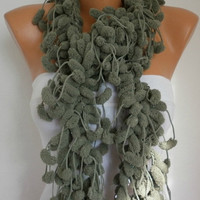 Knit Scarf - Women Scarves - Knitting Cowl - Crochet Scarf - Long Scarf - Pompom - Sage Green