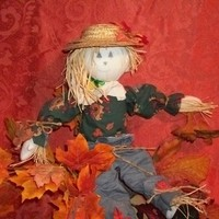 "Hand Crafted 18"" Scarecrow Doll on Wood Dowel Stand - Fall Home Decor - Figurines"