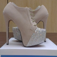 Glam blinged up shoe boots with extra high stiletto heels and hidden platform in a faux suede beige colour