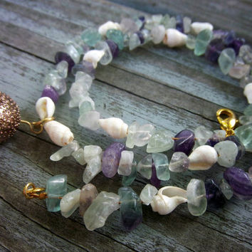 Natural Fluroite Gemstone Necklace Faux Sea Glass Nautical Cottage Chic Jewelry