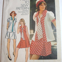 Vintage Pattern Simplicity dress size 8 1970s mod retro dress top jacket scarf sewing pattern Uncut Factory Folded