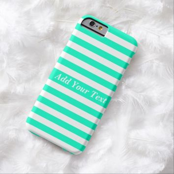 Modern Mint Green White Stripes Pattern Barely There iPhone 6 Case
