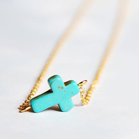 Sideways Cross Necklace - Dainty Turquoise and Gold chain