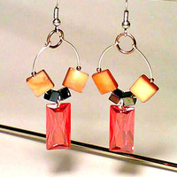Red & Orange Beaded Earrings By DeerwoodCreekGifts
