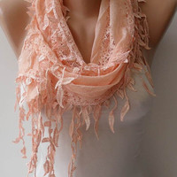 New - Trendy - Soft Lace Scarf - Lace Scarf in Light Salmon with Salmon Trim Edge