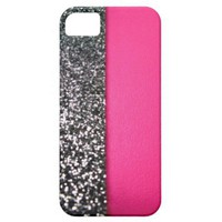 Black and Pink Glitter iPhone 5 Cover from Zazzle.com