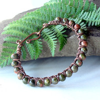 Green stone bracelet - unakite gemstone & copper bangle