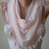 New - Light  Pink Scarf with Trim Edge - Triangle