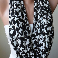 New - Flying Birds - Infinty Scarf - Circular Scarf  -  Loop Scarf - Black and White - White Birds