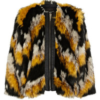 River Island Girls black chevron faux fur coat