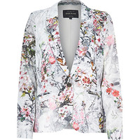 River Island Womens Grey floral print jacquard tailored blazer